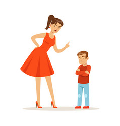 mother character scolding her upset son vector image