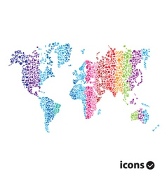 Color world map on white vector