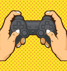 Hands holding joystick vector