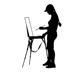 Silhouette artist at work on a white background vector