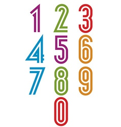 Double stripes funky numbers set vector