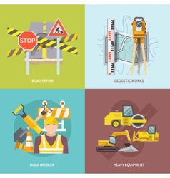 Road worker flat vector