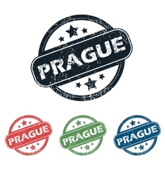 Round prague city stamp set vector