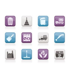 Cleaning industry and environment icons vector