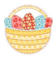 easter basket on white vector image