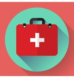 First aid case flat icon with shadow vector