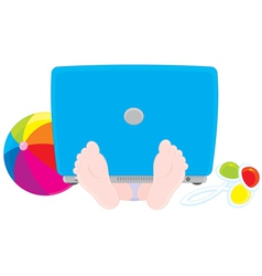 Child with a laptop ball and rattle vector