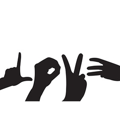 Hand love silhouettes on the white background vector