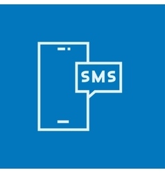 Smartphone with message line icon vector
