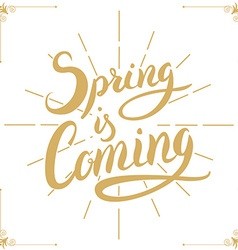 Spring is coming hand drawn lettering vector
