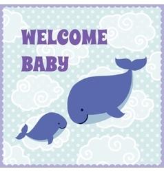 Baby shower invitation card with cute cartoon vector
