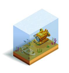 Bathyscaph underwater isometric composition vector