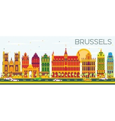 Brussels skyline with color buildings vector