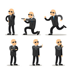 cartoon professional safeguard man security guard vector image