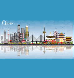 China city skyline with reflections famous vector