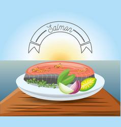 Delicious salmon dish menu restaurant vector