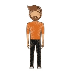 Drawing avatar man hipster bearded standing vector