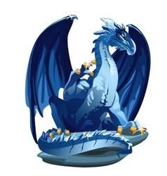 Figure icy blue dragon with golden claws vector