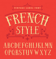 French style label font poster vector