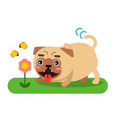 Funny pug dog character walking in the park vector