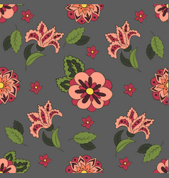 Gray seamless pattern with spring flowers cover vector