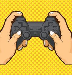 Hands holding joystick vector