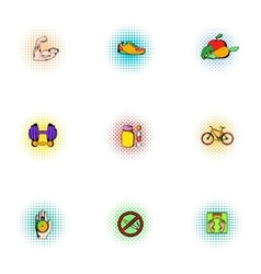 Healthy lifestyle icons set pop-art style vector