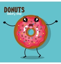 icon donut icing pink graphic vector image