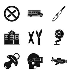 Junior classes icons set simple style vector