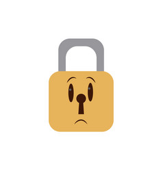 Kawaii padlock security close privacy cartoon vector