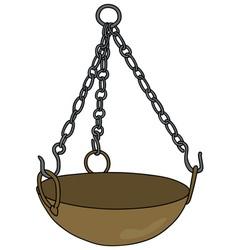 Old brass magical cauldron vector