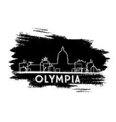 Olympia skyline silhouette hand drawn sketch vector