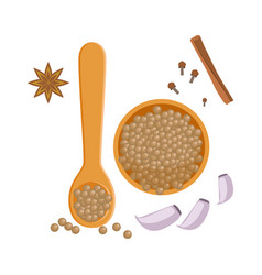 Peppercorns in a wooden bowl and spoon herbs and vector