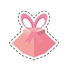 pink gift box festivity party ribbon line dotted vector image vector image