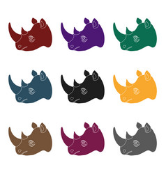 Rhinoceros icon in black style isolated on white vector