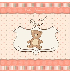 romantic baby girl announcement card with teddy vector image