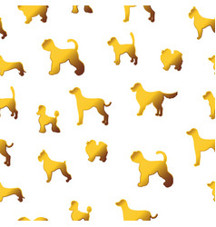 Seamless pattern with cute cartoon gold dog vector