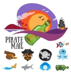 Set of patterns pirate mail and life of pirates vector