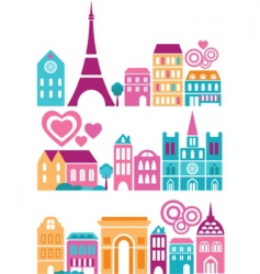 silhouettes of european cities paris vector image vector image
