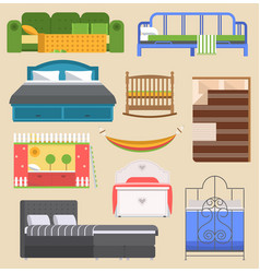 Sleeping bed furniture design bedroom with vector