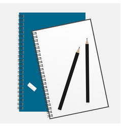 top view of an open spiral notebook and pencil vector image