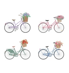Set of bicycles with basket full of flowers vector