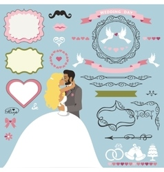 Wedding invitation decor elements set with kissing vector