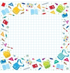 Design template background with education supplies vector image