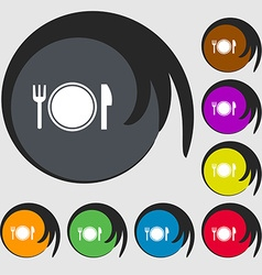 Plate icon sign Symbols on eight colored buttons vector image