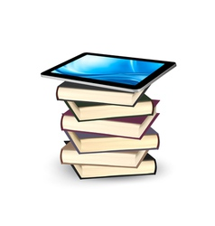 Tablet on a stock of books e-book capacity concept vector