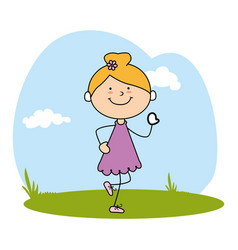 Cute little girl character on field vector