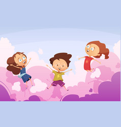 Company of playful kids jumping against rose vector