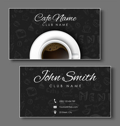 set of black business cards for coffee shops vector image