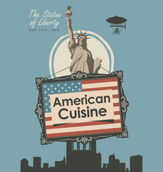 Banner for a restaurant american cuisine vector